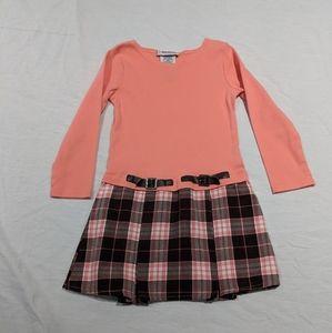 Girls Peach Plaid LS Dress